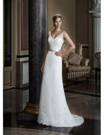 Vestito da Sposa online economico di tulle con applicazioni di pizzo e corpetto con scollo a V