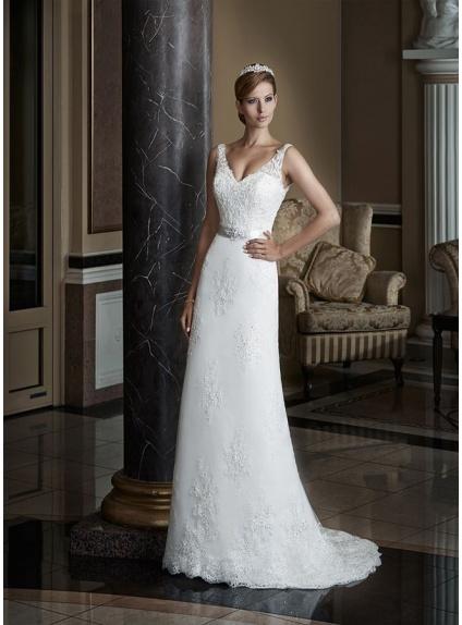 621754fd3a88 Vestito da Sposa online economico di tulle con applicazioni di pizzo e  corpetto con scollo a V