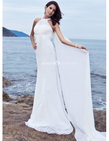 KELLY - Sheath Halter Cheap Watteau train Chiffon Wedding dress