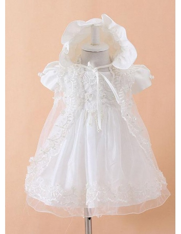 Christening Gowns A-line Tulle Satin High round/Slash neck Wedding party dress