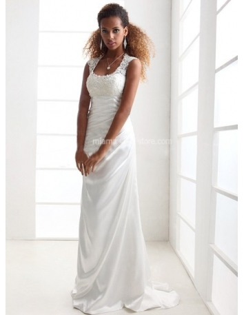 JESSIE - Sheath Empire waist Cheap Court train Printed satin Low round/Scooped neck Wedding dress