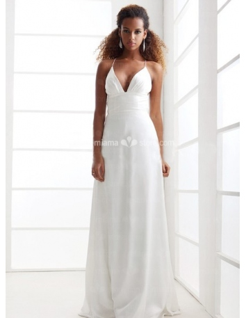 JULIE - Sheath Empire waist Cheap Floor length Chiffon V-neck Wedding dress