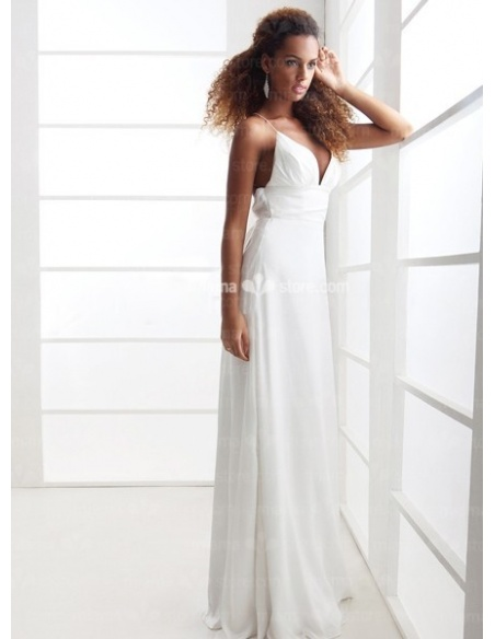 JULIE - Sheath Empire waist Cheap Floor length Chiffon V-neck Wedding dress