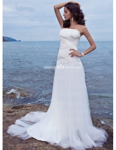 CAROL - Sheath Strapless Chapel train Tulle Wedding dress