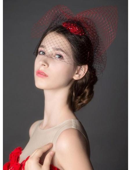 Veletta Sposa e Cerimonia Rossa e Nera molto Elegante