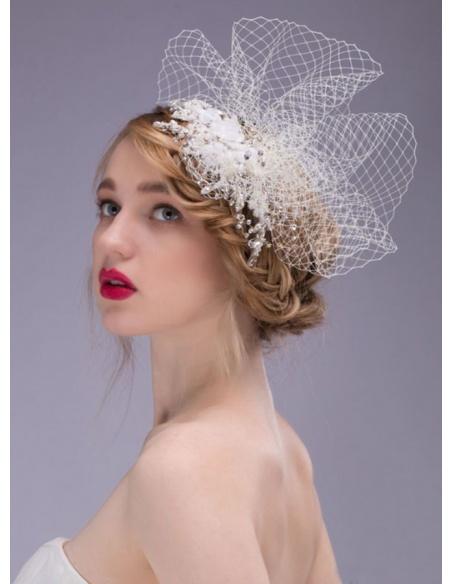 Photo color Tulle Imitation pearl Rhinestone Wedding Bridal Headpiece