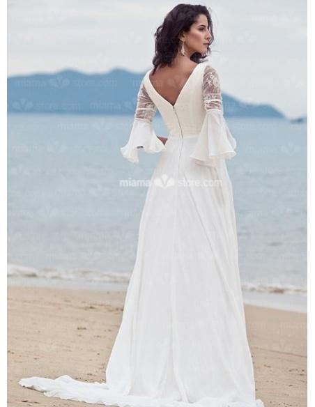 CORINNA - Empire waist V-neck Sheath Cheap Chapel train Chiffon Wedding dress