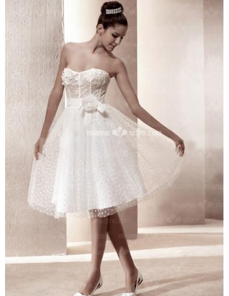 SUNDY - A-Line Sweetheart Cheap Knee length Tulle Wedding dress