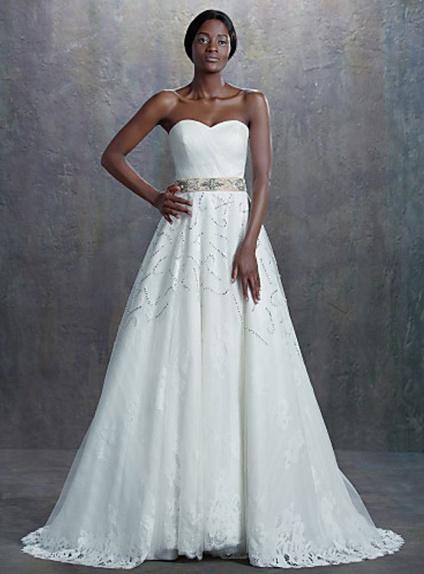 A Line Sweetheart Empire Waist Chapel Train Tulle Lace Wedding Dress