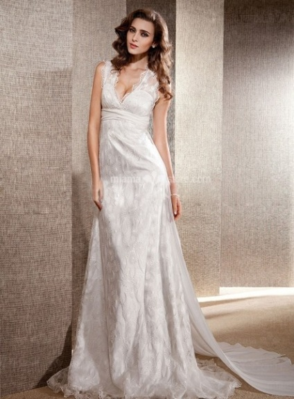 LOLY - A-Line V-neck Chapel train Lace Wedding dress