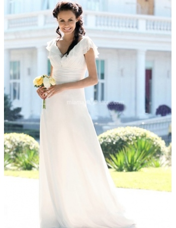 CANDY - A-Line V-neck Cheap Floor length Chiffon Wedding dress