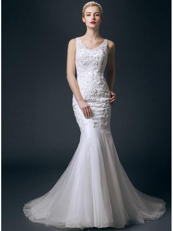 Mermaid V Neck Chapel Train Tulle Lace Wedding Dress
