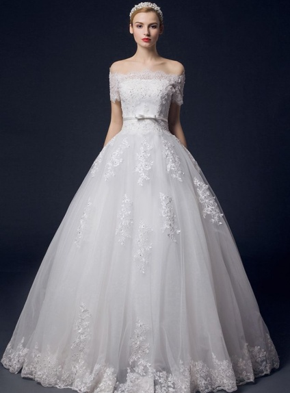 A-line Off the shoulder Empire waist Chapel train Tulle Wedding dress