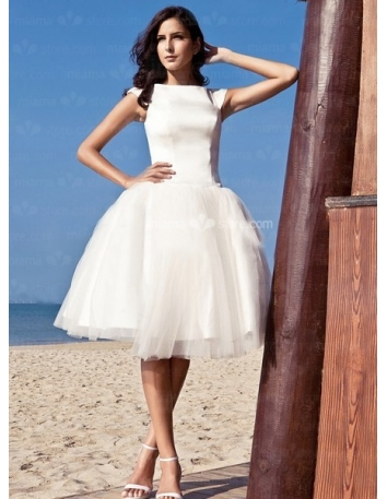 LOVELY - A-Line Short Cheap Satin High round/Slash neck Wedding dress