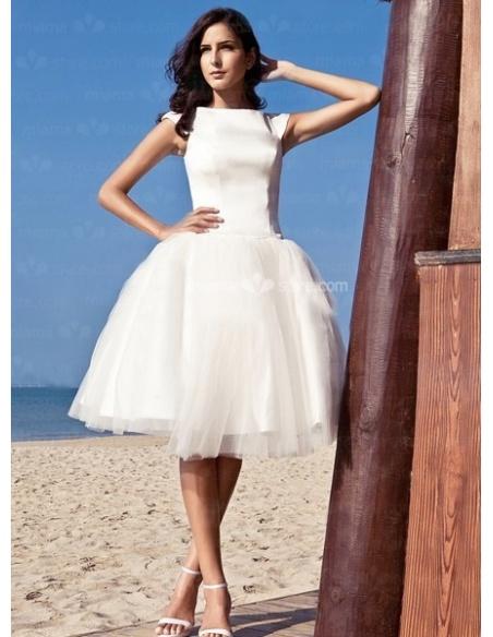 LOVELY - A-Line Short Cheap Satin High round/Slash neck Wedding dress