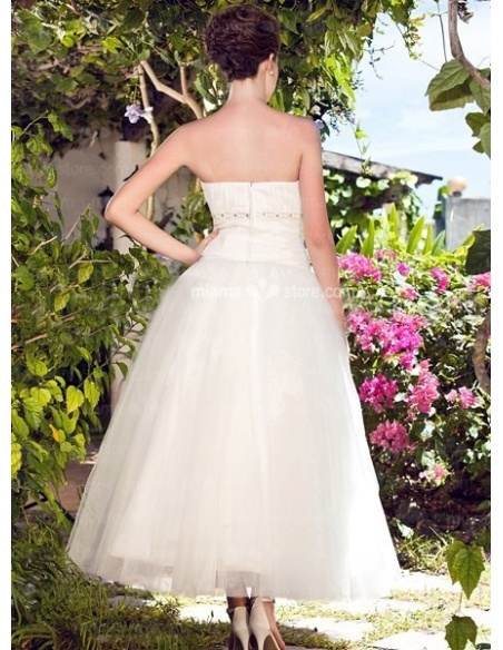 LETITIA - A-Line Strapless Cheap Ankle length Tulle Wedding dress