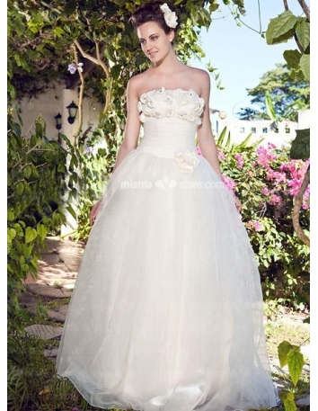 AIMEE - A-Line Strapless Cheap Floor length Tulle Wedding dress