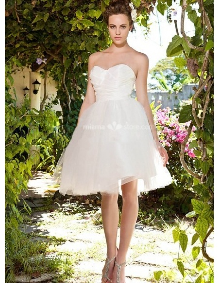 ALLISON - A-Line Sweetheart Cheap Knee length Tulle Wedding dress