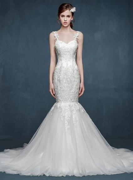853e318629bb Abito Da Sposa Pizzo Sirena » Abito da sposa a sirena di pizzo con ...