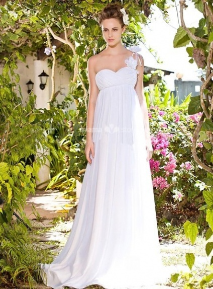 BEATA - Empire waist Sheath Cheap Floor length Chiffon One shoulder Wedding dress