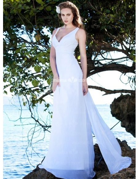 YVETTE - Sheath V-neck Cheap Watteau train Chiffon Wedding dress