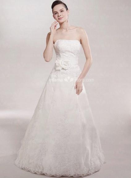 SASHA - A-line Strapless Empire waist Floor length Tulle Beaded Wedding dress