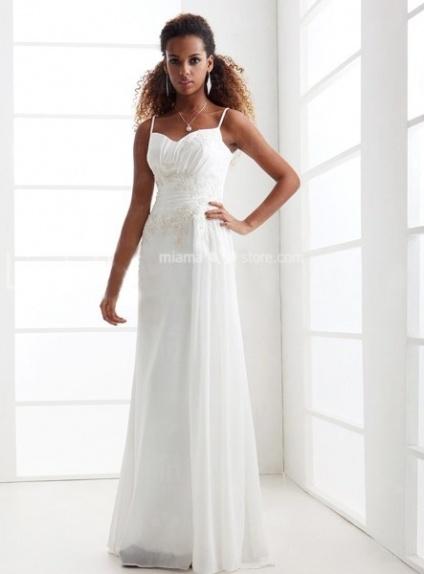 FREDERICA - Sheath Empire waist Cheap Floor length Chiffon Queen anne/Sweetheart Wedding dress