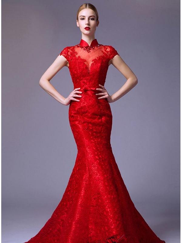 Abito da Sposa a sirena Rosso Accollato di Pizzo disponibile in tutti ...