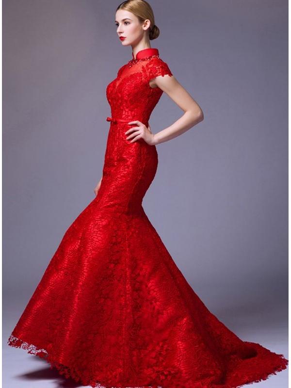 Pizzo di i sirena Accollato Sposa in disponibile Rosso a da Abito tutti colori 4xqT0gx