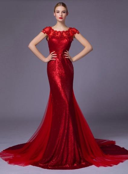 Abiti Da Sera A Sirena.Abito Da Sposa Colorato Rosso A Sirena Con Paillettes Brillanti