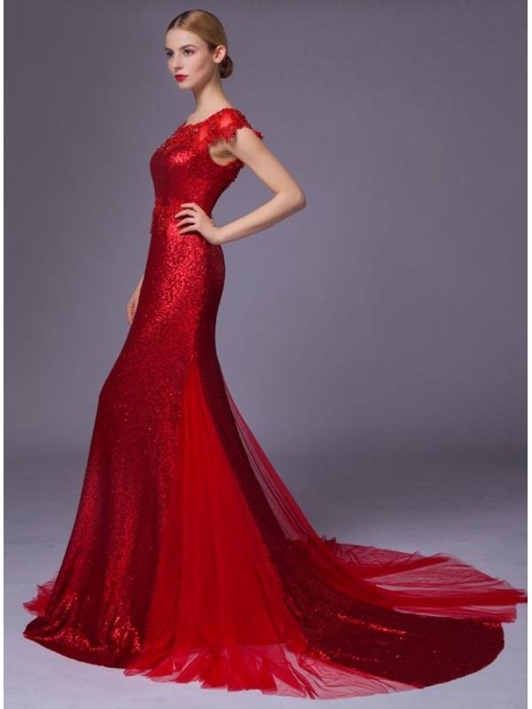 Estremamente da Sposa Colorato Rosso a sirena con paillettes brillanti XB34