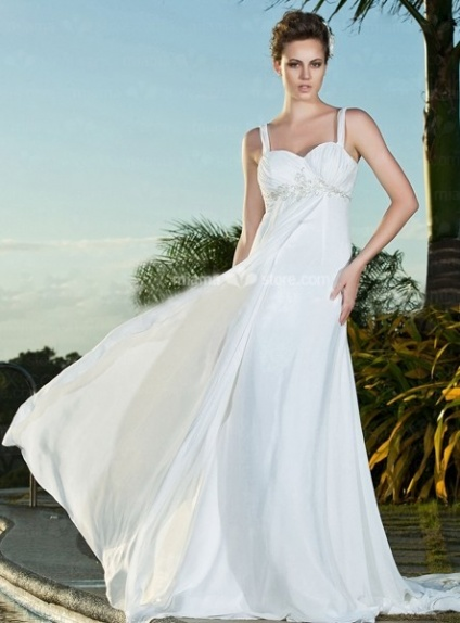 MARGARET - Sheath Spaghetti straps Cheap Chapel train Chiffon Queen anne/Sweetheart Wedding dress
