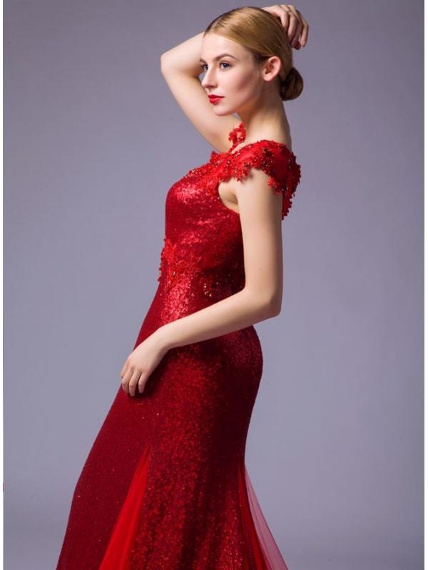 robe de mari e rouge style sir ne sequins et tulle col rond et tra ne. Black Bedroom Furniture Sets. Home Design Ideas