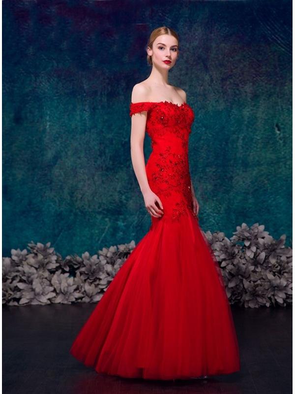 Famoso da Sposa Rosso in pizzo a sirena con corpetto decorato UI26