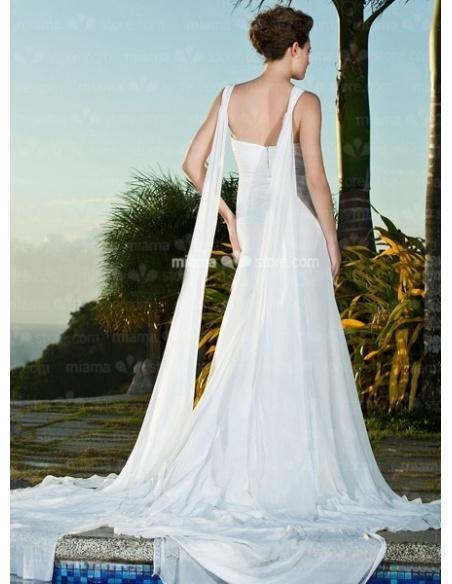 MARGARET - Sheath Spaghetti straps Cheap Chapel train Chiffon Queen anne/Sweetheart Wedding dress