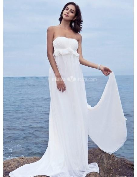 RITA - Sheath Strapless Cheap Watteau train Chiffon Wedding dress