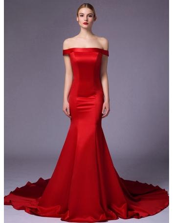 Wedding dresses for civil wedding miamastore for Off the shoulder satin wedding dress