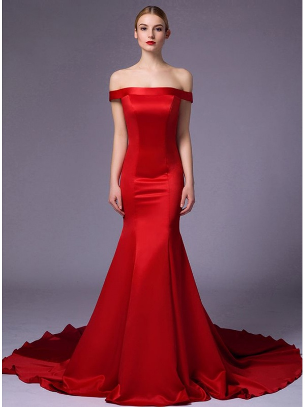 Robe de mariée rouge décolleté barque simple et économique ...