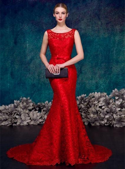 Favoloso Abito da Sposa Rosso a sirena in pizzo macrame disponibile in  IM48