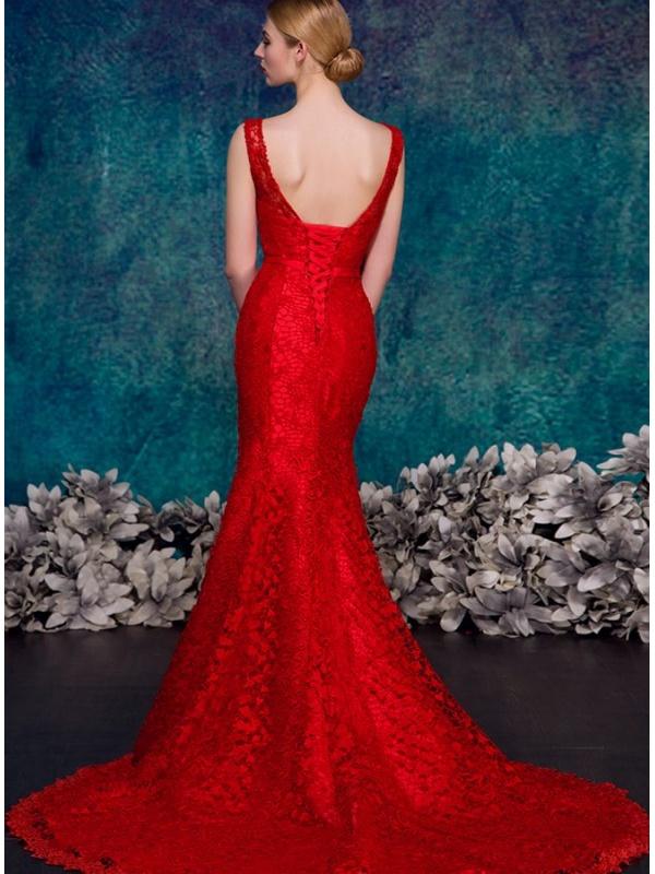 725476ceb4bb ... Abito da Sposa Rosso a sirena in pizzo macrame disponibile in tutti i  colori. 18. Prezzo scontato. Previous