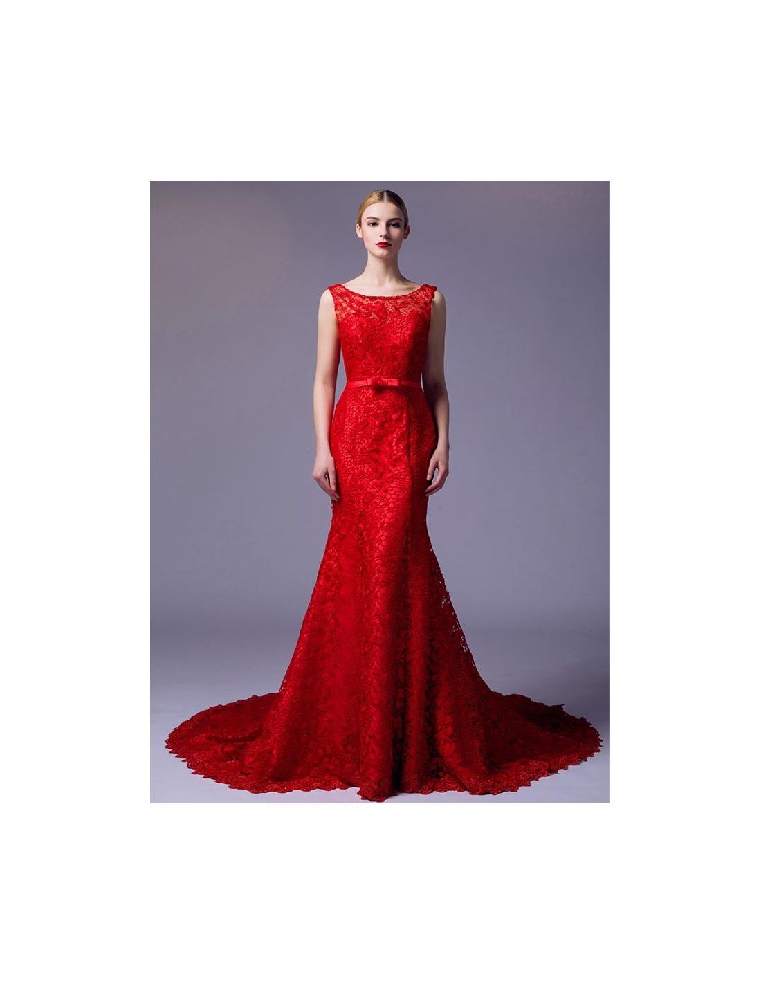 Vestiti rossi lunghi pizzo – Abiti in pizzo 59bd920ab60