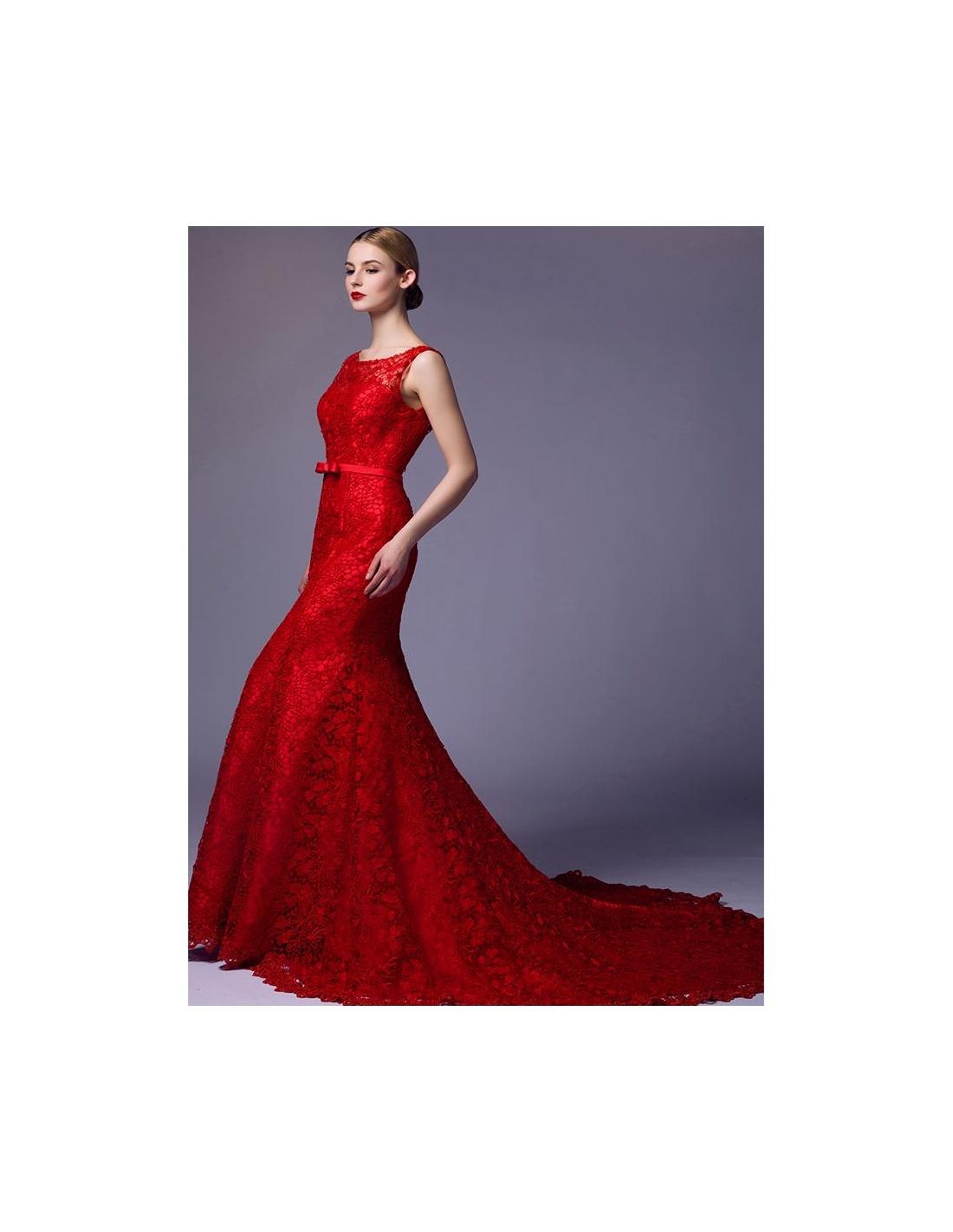 Eccezionale da Sposa Rosso a sirena in pizzo macrame disponibile in tutti i colori CV65