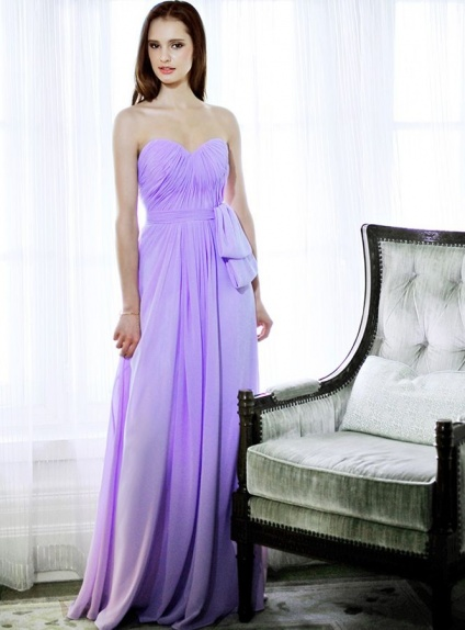 Bridesmaid A-line Floor length Chiffon Sweetheart Wedding party dress