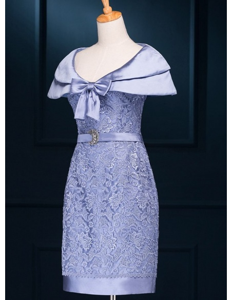 Mother of the bride Sheath/Column Knee length Satin Lace V-neck Wedding party dress