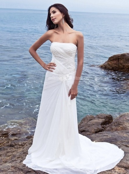 WINNIE - Sheath Strapless Cheap Chapel train Chiffon Wedding dress