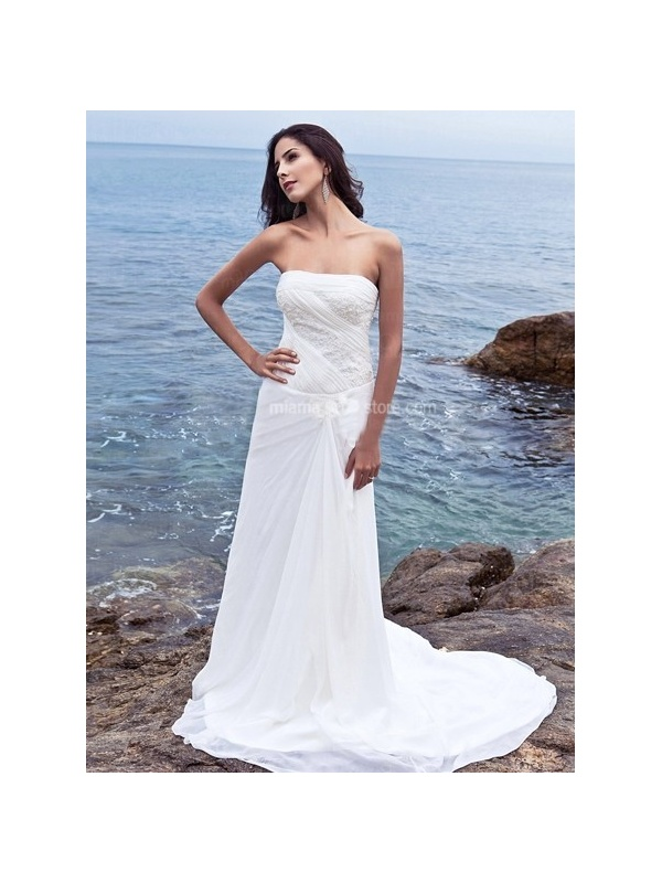 Sheath strapless cheap chapel train chiffon wedding dress for Cheap sheath wedding dresses
