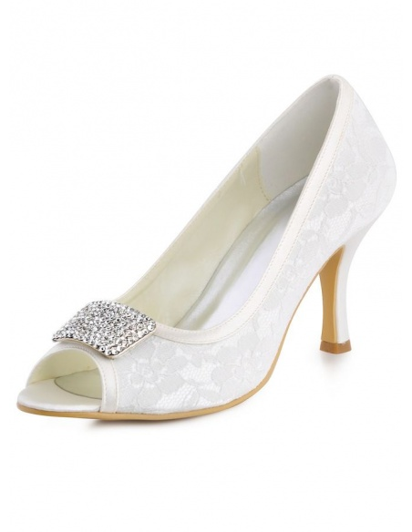Scarpe da Sposa in Pizzo Basse con spilla argento