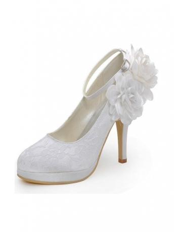 Scarpe da Sposa in Pizzo chiuse avanti con plateau, cinturino e fiori in raso