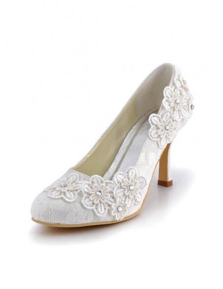 Scarpe da Sposa in pizzo con tacco basso e punti luce argento