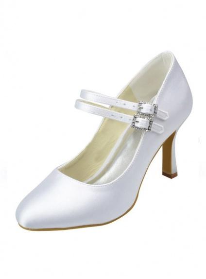 Scarpe Sposa Bianco Seta.Scarpe Da Sposa Semplici In Raso Bianco O Avorio Con Doppio Cinturino